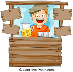 Lemonade Stand - Boy in Lemonade Stand with Clipping Path