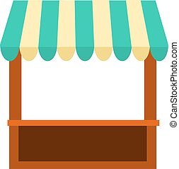 Kiosk stand with striped awning