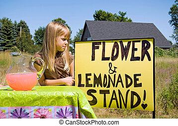 Lemonade Stand - Little girl attending her lemonade stand.