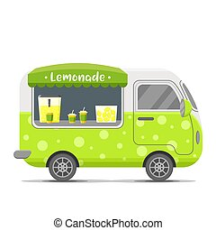Lemonade street food vector caravan trailer