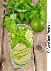 Lemonade with fresh cucumber, lime and mint