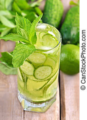 Lemonade with fresh cucumber, lime and mint in glass, close ...
