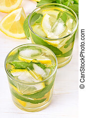 Lemonade with fresh lemon and mint in glass