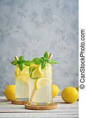 Lemonade with lemon and basil