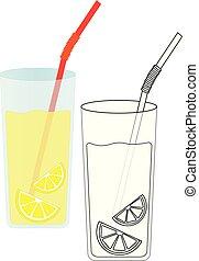 Lemonade with lemon. Coloring page, game for kids. Vector illustration.