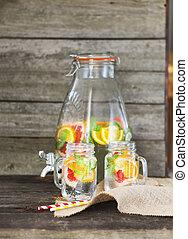 Lemonade with lemon, orange and grapefruit