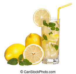 Lemonade with mint - Glass of lemonade with lemon and mint ...