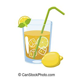 Lemonade with straw isolate on a white background. Vector graphics