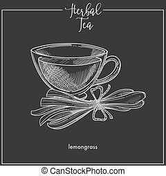 Lemongrass tea cup chalk sketch vector icon for herbal tea, cafeteria or packaging design template