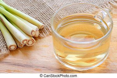 Lemongrass water - Thai herbal-Lemongrass drinks in glass