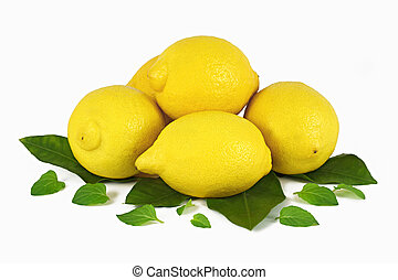 Lemons - a group of lemons with leafs