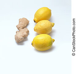 Lemons and ginger on a light blue background.