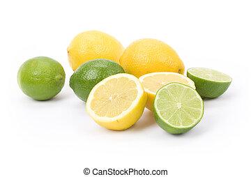 Lemons and lime - Yellow Lemons and green lime with white...