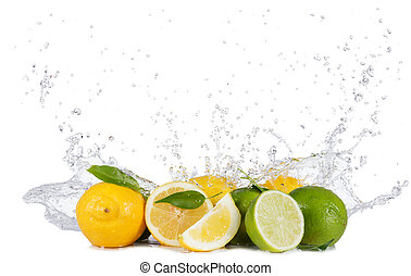 Lemons and limes with water splashes on white - Fresh limes...