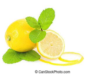 Lemons and mint over white