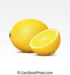 Lemons - Two lemons on a white background