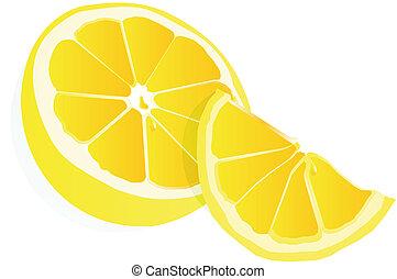 Lemons illustration over white... - Half and a quarter of a ...