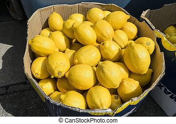 Lemons in a box.