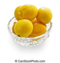 Lemons in crystal bowl