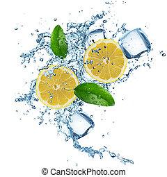 Lemons in water splash