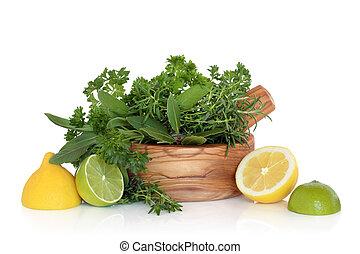 Lemons, Limes and Herb Leaves