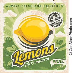 Lemons - Retro poster design for lemon farm