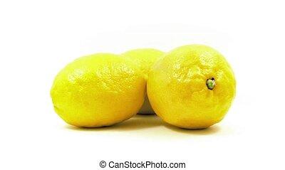 Lemons Rotating On White