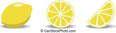 Lemons - Three lemon illustrations on a white background....