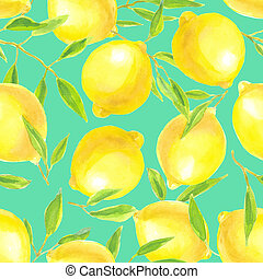 Lemons with leaves watercolor pattern - Seamless pattern...