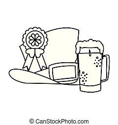 lemprechaun tophat with beer drink vector illustration...
