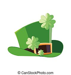 lemprechaun tophat with clovers leafs vector illustration...