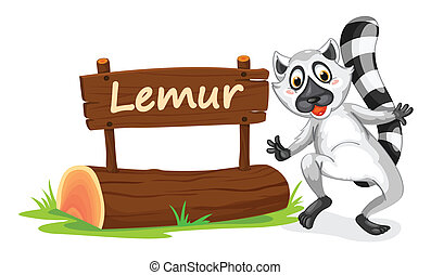 lemur and name plate - illustration of Lemur and name plate...