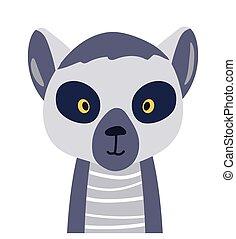 Lemur cute animal baby face vector illustration. Hand drawn style nursery character. Scandinavian funny kid design