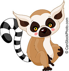 lemur, divertimento, zoo.