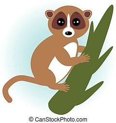 lemur on green branch on white background. vector - lemur on...