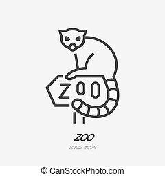 Lemur sitting on Zoo sign flat line icon. Animal park sign, wildlife logo