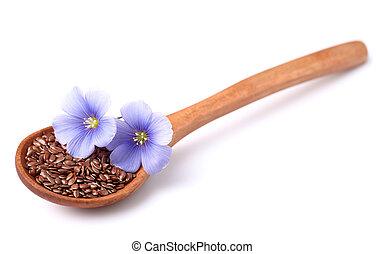 len, semena, s, květiny