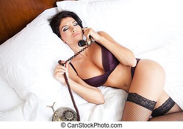 lenceria, sexy, mujer, en, erótico, llamada telefónica