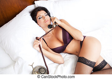 lenceria, teléfono, erótico, mujer, llamada, sexy