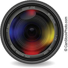 lencse, fénykép, redőny, fényképezőgép