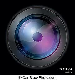 lencse, fényképezőgép, vector.