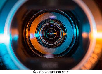 lencse, fényképezőgép, video