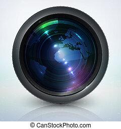 lencse, földgolyó, fényképezőgép