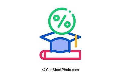 Lend Money To Pay For Tuition Icon Animation. color Lend Money To Pay For Tuition animated icon on white background