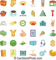 Lending icons set, cartoon style