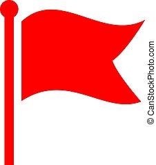 lenget lobogó, vektor, piros, ikon