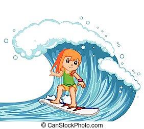 lenget, nagy, szörfözás, nő, fiatal