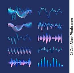 lenget, sötét, állhatatos, visualizations., illustration., színes, rezgés, hullámzás, hangzik, ingás, elszigetelt, batyu, jelez, háttér., vektor, különféle, akusztikai, zene, audio, elektronikus, vagy