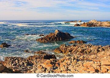 lenget, törő, képben látható, sziklás, óceán, tengerpart