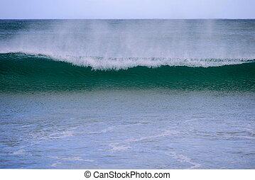 lenget, törő, közel, tengerpart